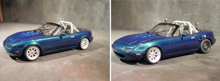 Mazda Miata. Panasport wheels on left, Go-Pro cameras and drift wheels on right. Photo and model by Michael Newport